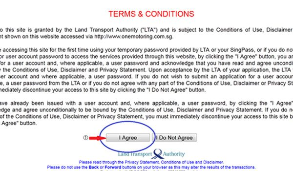 Vehicle Log Card Request - Accept Terms & Conditions
